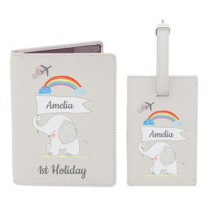 Personalised My 1st Cream Passport Holder & Luggage Tag Set