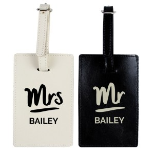 Personalised Mr & Mrs Black & Cream Luggage Tag Set