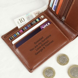 Personalised Free Text Tan Leather Wallet