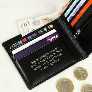 Personalised Free Text Black Leather Wallet
