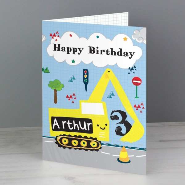 Personalised Digger Birthday Card Birthday Cards For Him Birthday Cards Cards