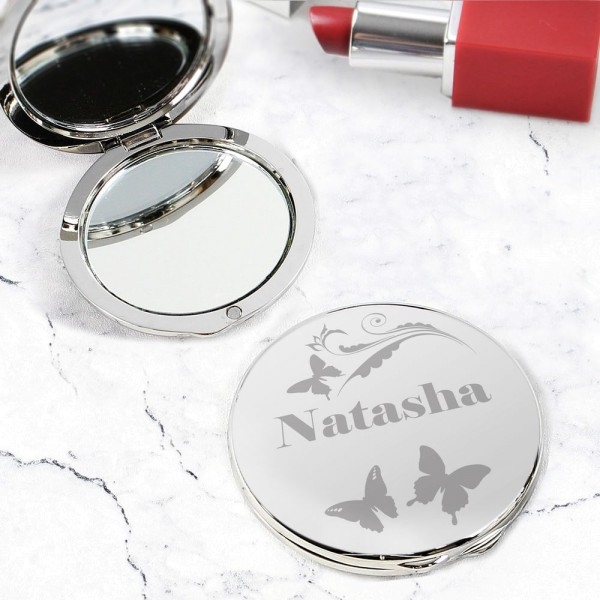 Personalised Butterfly Swirl Compact Mirror