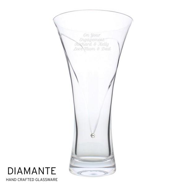 2081614060 Personalised Large Hand Cut Diamante Heart Vase with Swarovski Elements
