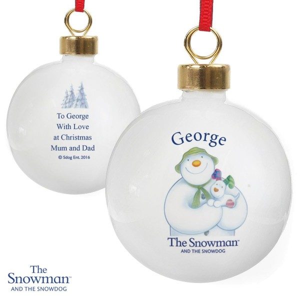 Raymond Briggs The Snowman Christmas Tree Decorations: Personalised The Snowman And The Snowdog Bauble