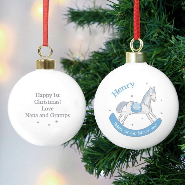 personalised 1st christmas blue rocking horse bauble personalised baubles christmas occasions - Horse Christmas Decorations Uk