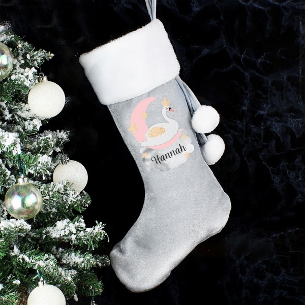 Luxury Christmas Stockings Uk.Personalised Swan Lake Luxury Silver Grey Stocking