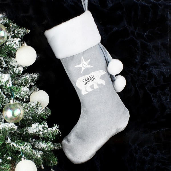 Grey Christmas Stockings Personalised.Personalised Grey Polar Bear Stocking