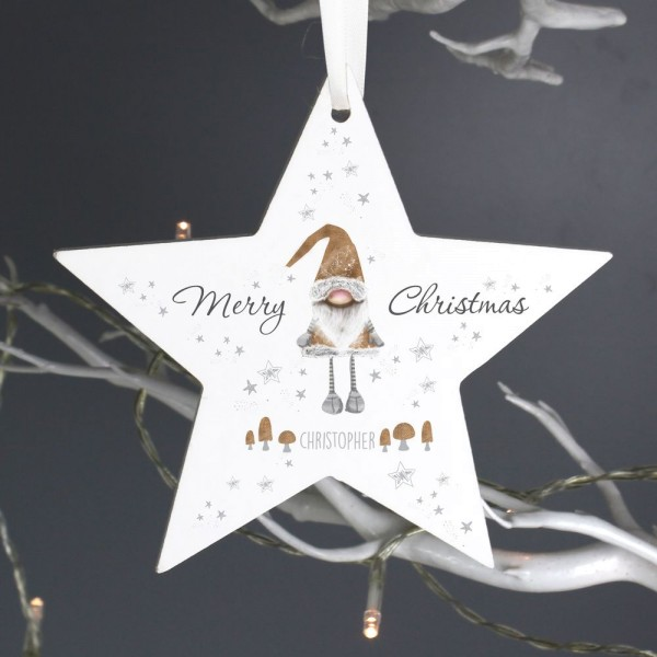 Scandinavian Christmas.Personalised Scandinavian Christmas Gnome Wooden Star Decoration