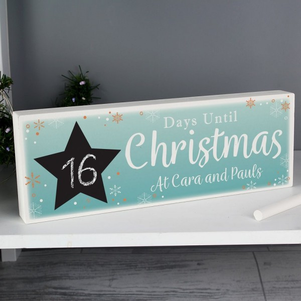 Countdown To Christmas Sign.Personalised Christmas Chalk Countdown Wooden Block Sign